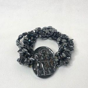 Vintage Black Stone Beaded Bracelet